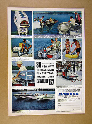 1967 Evinrude Outboard Motors Gull Wing Boats Aquanaut Skeeter vintage print Ad