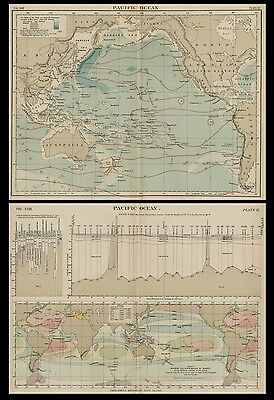 Pacific Ocean: TWO Aiuthentic 1889 Maps / Charts showing Depths / Currents