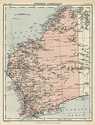 Western Australia / Perth: Authentic 1889 Map showing Towns; Rivrs; Topography +