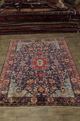 Stunning Floral S Antique Navy Ardebil Persian Area Rug Oriental Carpet 7'6X9'5