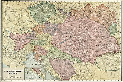 Austria-Hungary Map: Authentic 1899 / Cities; Towns; Railroads, Topography