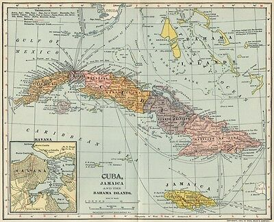 Cuba, Jamaica, Bahamas Map: Authentic 1902 (Dated) Towns, Ports, (Havanah Inset)