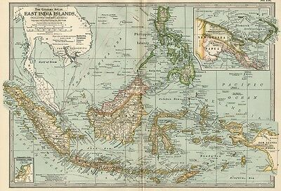 East India Islands Map: Authentic 1897 (Dated) Cities, Ports, &  Sea Routes