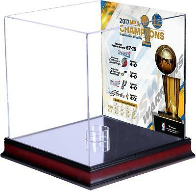 GS Warriors 2017 NBA Finals Champs Mahogany Basketball Display Case with Collage