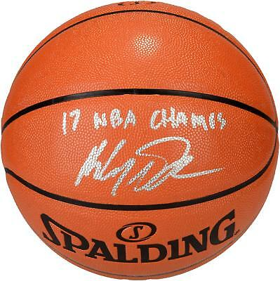 Klay Thompson GS Warriors Signed 2017 NBA Champs Basketball with '17 Champs Insc