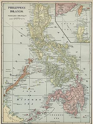 Philippine Islands Map: Authentic 1899; showing Towns / Ports / Groups