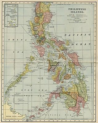 Philppine Islands Map: Authentic 1903 (Dated) Luzon, Towns Topography, Ports, RR