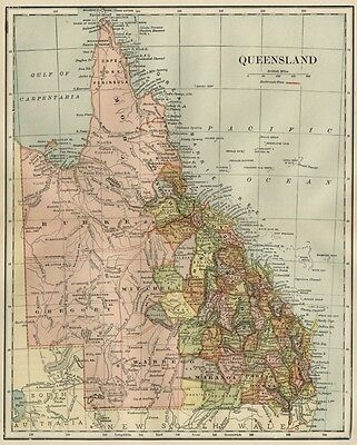 Queensland Australia Map: 1891 / Counties, Towns, Rivers, RRs, Topography