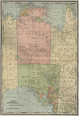 SOUTH AUSTRALIA Map: Authentic 1899; with Cities; Towns; RRs, Topography