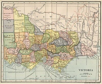 Vicoria Australia Map: Authentic 1903 (Dated) with Towns, Counties, Railroads +