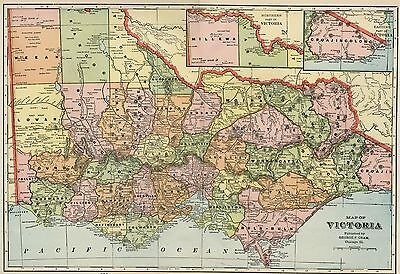 VICTORIA AUSTRALIA Map: Authentic 1899; with Cities; Towns; RRs, Topography