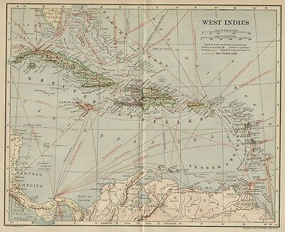 West Indies Map; Authentic 1907 (Dated) Cities, Ports, Sea Lanes, Topog, RRs