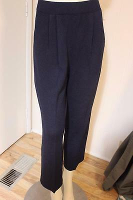 St. John Collection Santana Blue Pleat Front Pocketed Ankle Length Pants Sz 8
