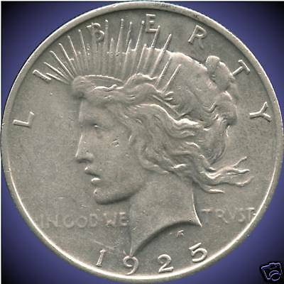 1925 United States Silver 'Peace' Dollar (26.73 Grams .900 Silver)