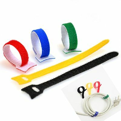 10pcs/set Fastener Colorful Magic Tape Cord Harness Hook Loop Cable Tie