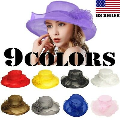 Elegant Women Wide Brim Kentucky Derby Sun Hat Lady Wedding Tea Party Church Cap