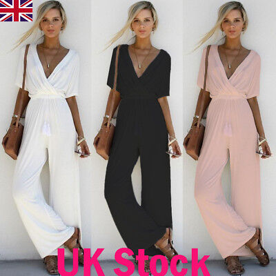 New Style Women V Neck Short Sleeve Jumpsuit Ladies Summer Casual Loose Playsuit
