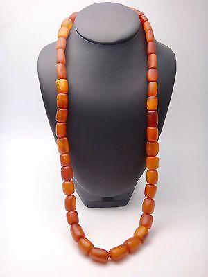 ANTIQUE VINTAGE NATURAL AMBER BUTTERSCOTCH BEADS LONG NECKLACE 89g