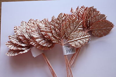 36 x GLITTER ROSE GOLD SILK LARGE ARTIFICIAL ROSE LEAVES 60mm x 40mm WIRED STEM