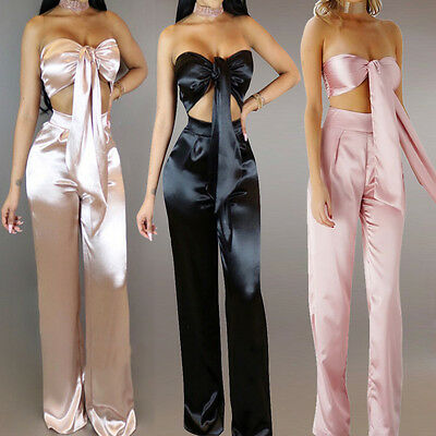 Women Ladies Strapless Jumpsuit Romper Clubwear Trousers Bodycon Party Playsuit