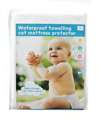 BNWT R Kids Baby Waterproof Back Terry Towelling Cot Mattress Protector 60x120cm