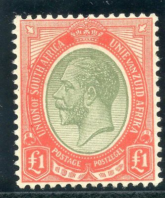 South Africa 1924 KGV £1 pale olive-green & red MLH. SG 17a.