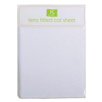 BNWT R Kids Baby Single Terry Towelling Fitted Cot Sheet 60x120cm White