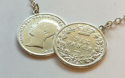 Lucky Double  Victorian Sixpence Coin Necklace On Sterling Silver Chain NEW