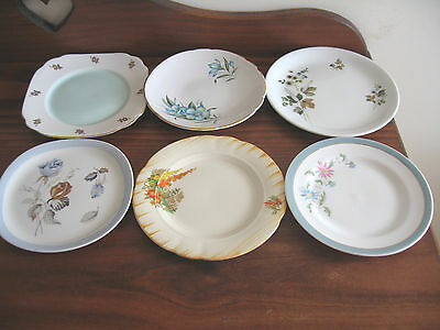 6 Different Vintage Bone China Side Plates England J &g +Alfred Meakin Royal +