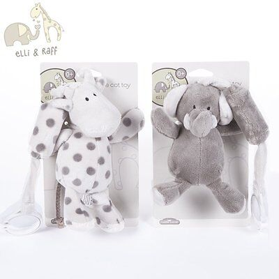 BNWT Baby Elli & Raff Head Plush Cot Chime Toy Grey & Cream