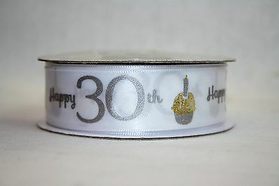 Happy 80th Silver /& Gold on White Satin Ribbon 25mm Cake Party 2 5 or 20m