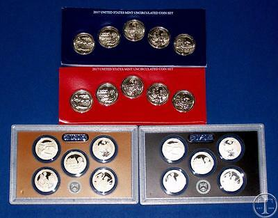 2017 PDSS BU Plus Clad AND Silver Proof Quarter Set-PD in Mint Plastic-20 Coins