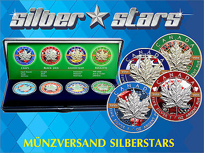 4 x 1 OZ Silber Silver Maple Leaf  2017 Color Casino Edition in box mit CoA
