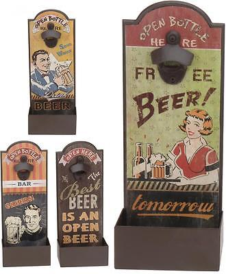Retro Vintage Wooden Wall Mounted Beer Bottle Opener with Cap Catcher Box
