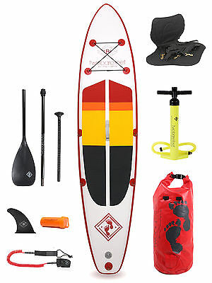 """Model IV Premium Rojo 12'0 x 6"""" Inflatable Paddleboard + Deluxe SUP Package"""