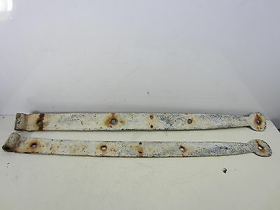 2 Vintage Large Hand Made Iron Hinges for Barn Door