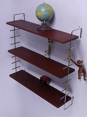 mid century teak string aera regal ledder shelf etagere 60er 70er typ 2 danish eur 129 90. Black Bedroom Furniture Sets. Home Design Ideas