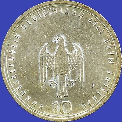 1989 'J' Germany 10 Mark Silver Coin (15.5 grams .625 Silver)