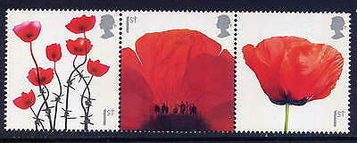 GB 2008 LEST WE FORGET POPPY Strip of Three MNH