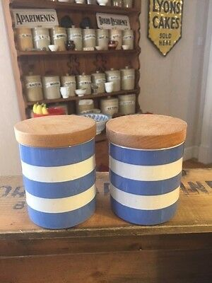 Vintage TG Green Cornishware – Pair Small Plain Spice Jars – Great! –