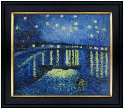 Framed Van Gogh Starry Night over Rhone Repro, Hand Painted Oil Painting 20x24in