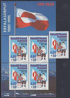 839) Greenland - Gronland 1995 - Greenland Flag   Mint Never Hinged Stamp + Ms