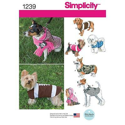 Simplicity Sewing Pattern Dog Coats In 3 Sizes 1239