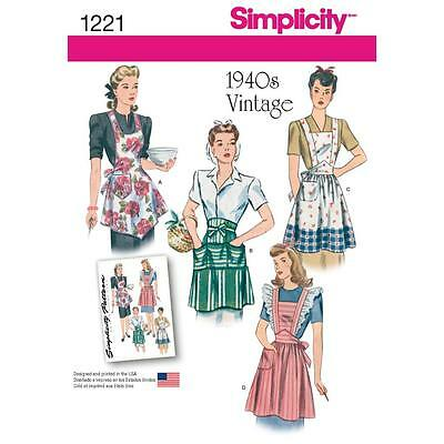 SIMPLICITY SEWING PATTERN VINTAGE 1940s MISSES' APRONS 1221