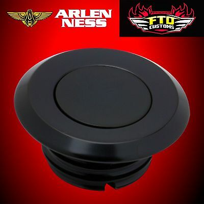 Arlen Ness Gas Cap Smooth Black Pop Up Style for Harley 70-002