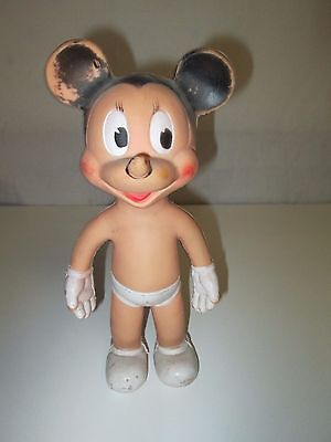 Mickey Mouse Sun Rubber Doll 10 3/4 Inch Toy Squeaker Walt Disney Vintage
