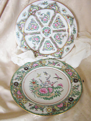 Two Vintage Chinese Famille Rose Decorative Plate Hand Painted Floral Scene