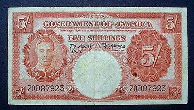 JAMAICA ~ KING GEORGE VI ~ FIVE SHILLINGS 1955 f.