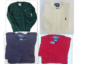 POLO RALPH LAUREN Boys Sz 14-16 Sweater Kids Large Pullover Crew NEW