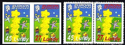 EUROPA - 2000 - Lundy - 2.Pairs - (imperf.+perf.) private ** MNH